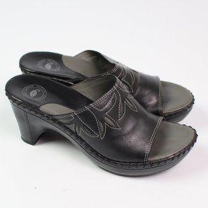 Nurture black leather open toe slide sandals heels